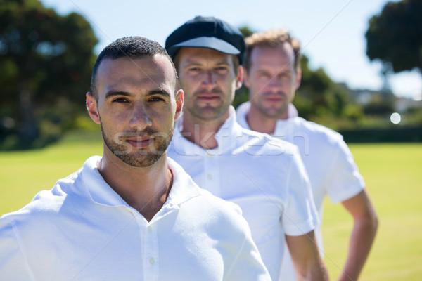 Stock fotó: Portré · krikett · játékosok · áll · füves · mező