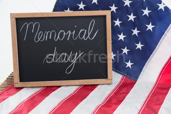 Amerykańską flagę tekst dzień drewniany stół żywności tabeli Zdjęcia stock © wavebreak_media
