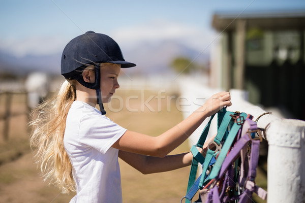 Girl picking up a horse muzzle in the ranch Stock photo © wavebreak_media