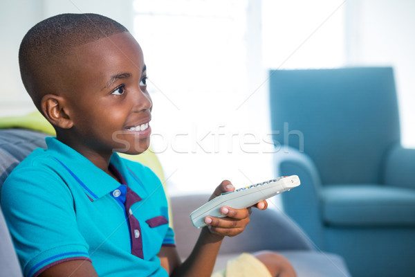 笑みを浮かべて 少年 リモコン ソファ ホーム ストックフォト © wavebreak_media