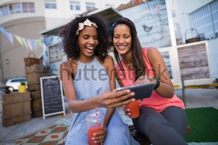 Smiling friends in camper van Stock photo © wavebreak_media