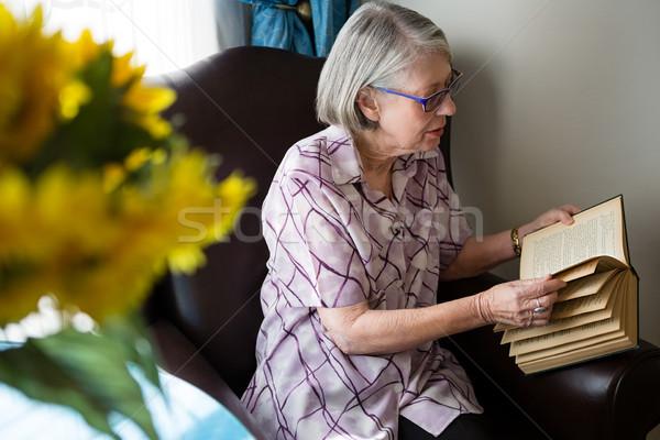 Starszy kobieta czytania książki posiedzenia dom starców Zdjęcia stock © wavebreak_media