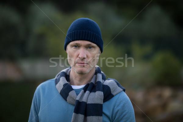 Człowiek ciepłe ubrania stałego odkryty portret szczęśliwy Zdjęcia stock © wavebreak_media