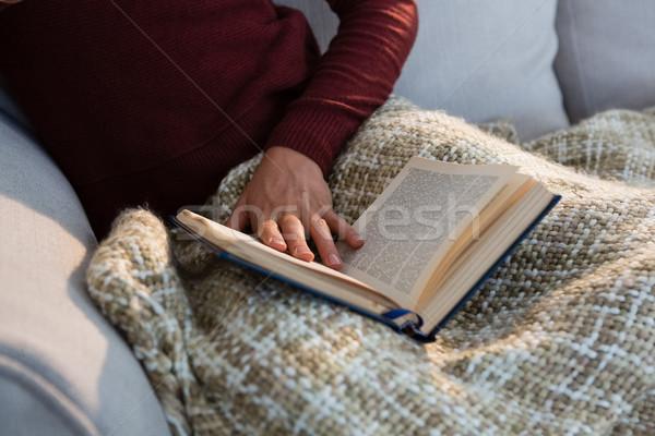 Femme livre séance canapé maison Photo stock © wavebreak_media