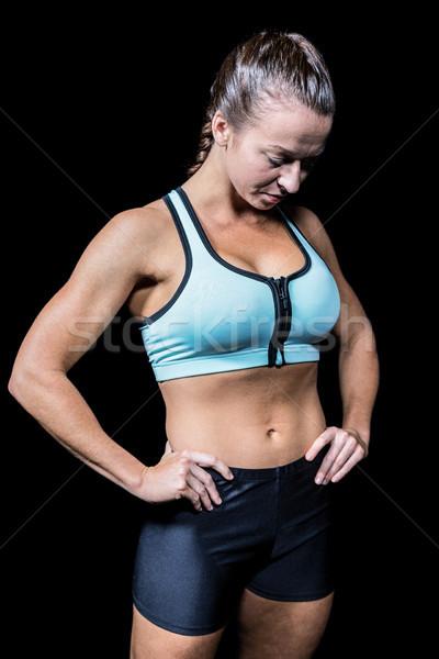Mujer mirando hacia abajo negro fitness salud Foto stock © wavebreak_media
