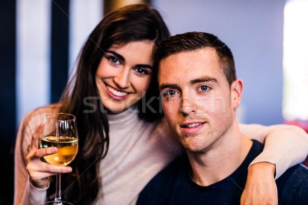Portre çift cam beyaz şarap bakıyor Stok fotoğraf © wavebreak_media