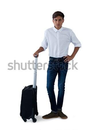 男性 執行 荷物 話し 携帯電話 白 ストックフォト © wavebreak_media