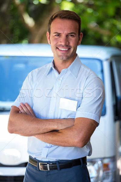 Ezermester áll kisteherautó portré férfi ipar Stock fotó © wavebreak_media