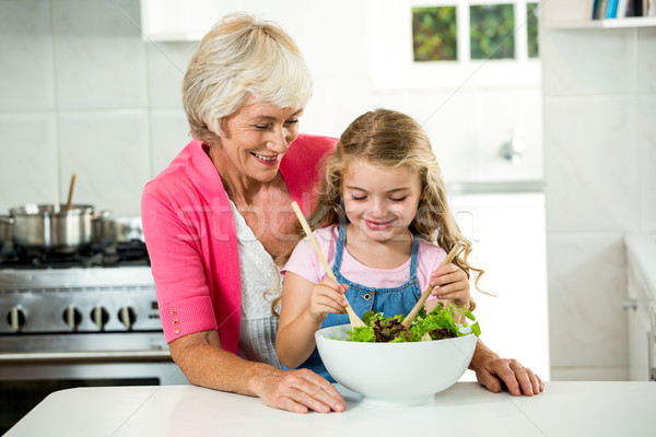 Boldog nagyi lány zöldségek konyha nő Stock fotó © wavebreak_media