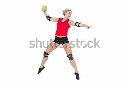 Female athlete with elbow pad throwing handball Stock photo © wavebreak_media