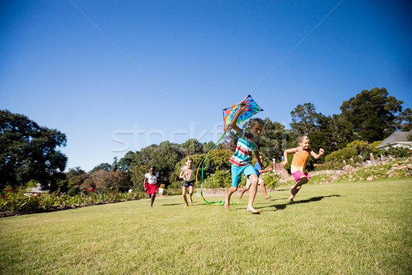 Kids playing together during a sunny day with a kite  Stock photo © wavebreak_media