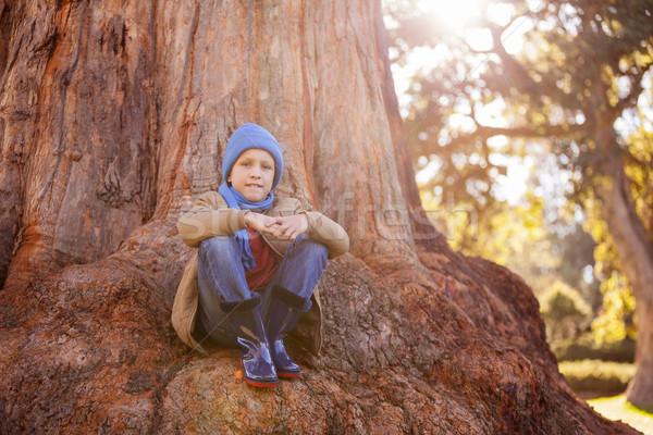 портрет мальчика сидят парка Сток-фото © wavebreak_media
