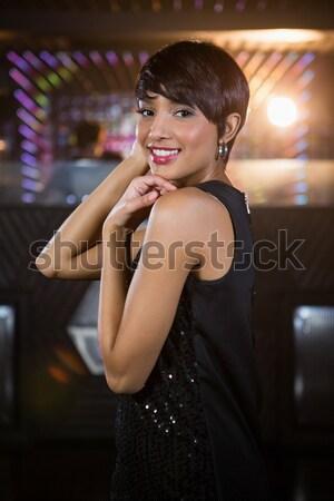 Portre genç kadın cam şampanya bar Stok fotoğraf © wavebreak_media
