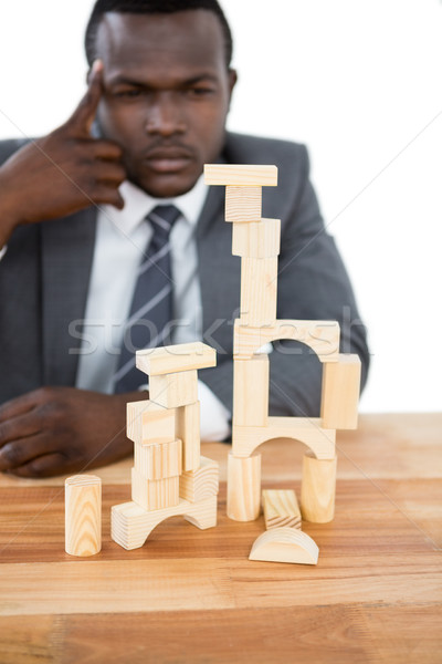 Foto stock: Empresário · edifício · torre · negócio