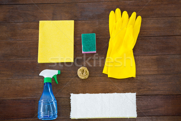 Overhead view of cleaning products on table Stock photo © wavebreak_media