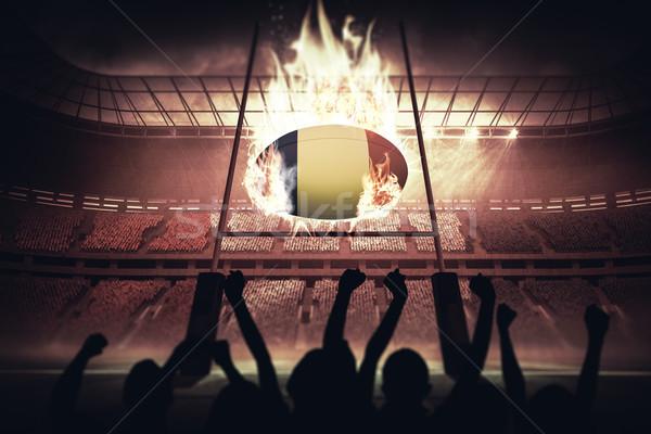 Imagen siluetas fútbol rugby Foto stock © wavebreak_media
