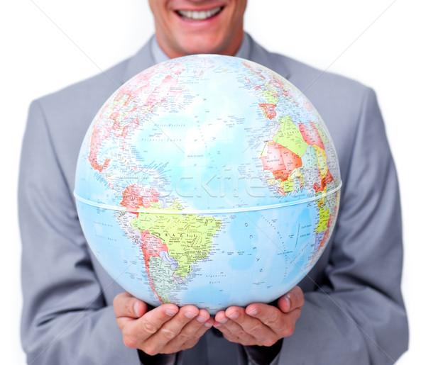 Primo piano imprenditore mondo bianco sorriso Foto d'archivio © wavebreak_media