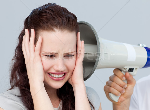 Portret zakenvrouw nerveus megafoon business vrouw Stockfoto © wavebreak_media