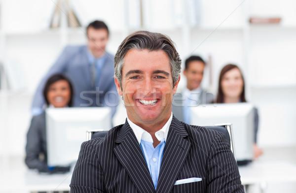 Presentazione entusiasta manager squadra ufficio tastiera Foto d'archivio © wavebreak_media