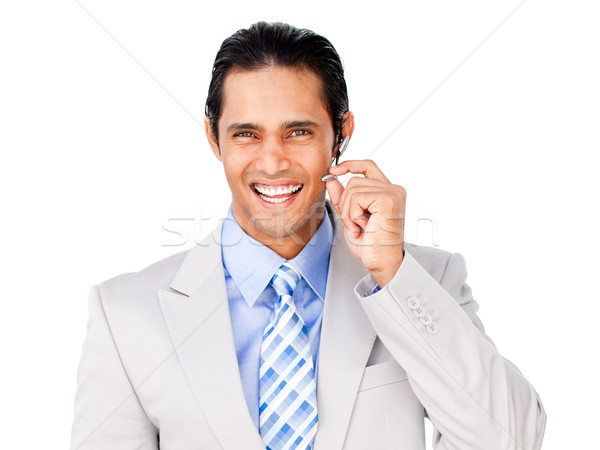 Happy customer service agent with headset on Stock photo © wavebreak_media
