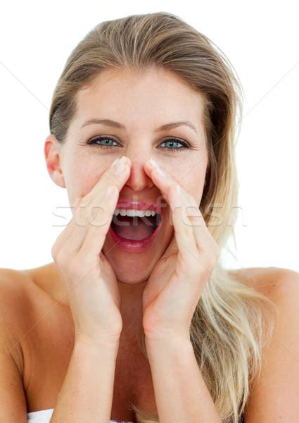 Mujer atractiva blanco manos cara mujeres Foto stock © wavebreak_media
