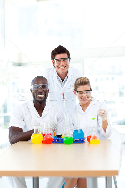 Scientists examining test-tubes with copy-space Stock photo © wavebreak_media