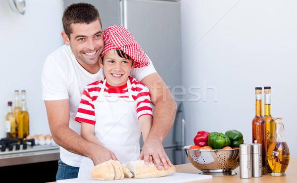 Portré apa fia étel konyha lány étel Stock fotó © wavebreak_media