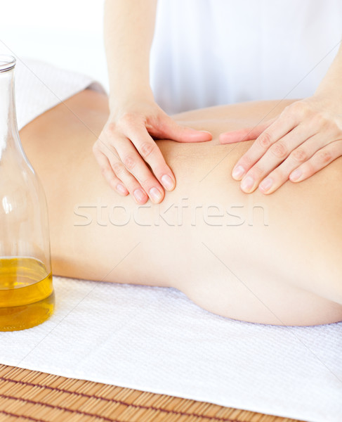 Vonzó nő masszázs masszázsolaj fürdő kéz egészség Stock fotó © wavebreak_media