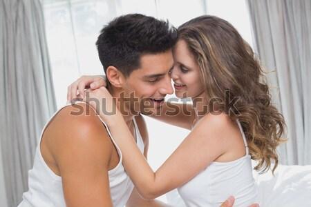 Erkek arkadaş kız arkadaş birlikte yatak uyku kadın Stok fotoğraf © wavebreak_media