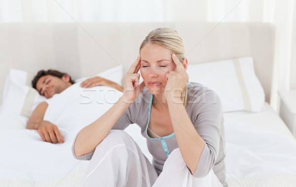 Baş ağrısı koca uyku ev yüz Stok fotoğraf © wavebreak_media