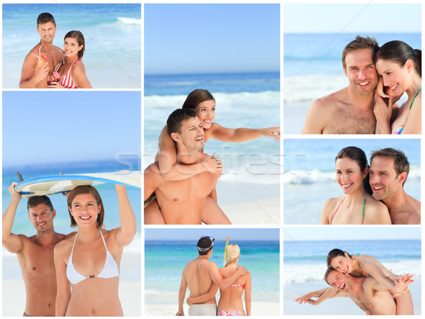 Collage of lovely couples having fun on a beach Stock photo © wavebreak_media