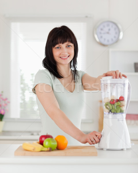 Good looking brunette female using a mixer while standing in the kitchen Stock photo © wavebreak_media