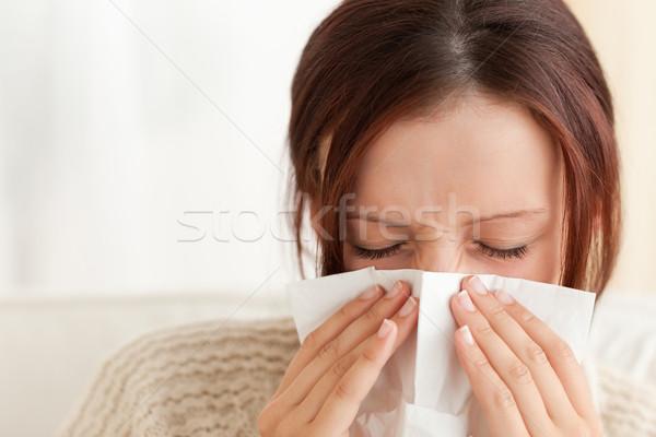 Nő orrot fúj nappali beteg gyönyörű fényes Stock fotó © wavebreak_media