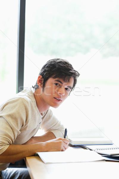 Portre genç öğrenci çalışma deneme kütüphane Stok fotoğraf © wavebreak_media