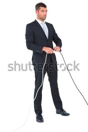 Uśmiechnięty biznesmen gotowy twardy negocjacja biały Zdjęcia stock © wavebreak_media