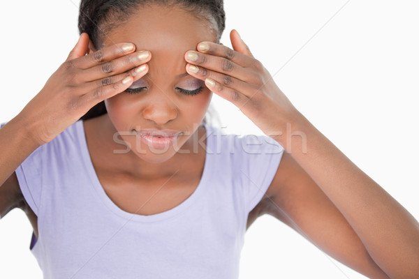Genç kadın beyaz arka plan imzalamak ağrı Stok fotoğraf © wavebreak_media