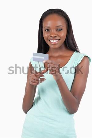 幸せ 笑顔の女性 見える ガラス 水 手 ストックフォト © wavebreak_media