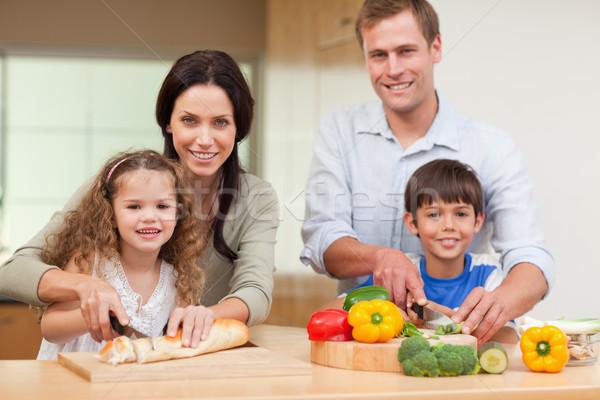 Rodziny cięcie składniki wraz żywności zdrowia Zdjęcia stock © wavebreak_media