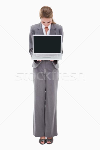 銀行 僱員 筆記本電腦 白 計算機 商業照片 © wavebreak_media