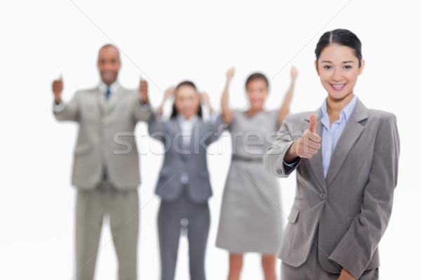Stok fotoğraf: Mutlu · işkadını · el · arka · plan · işadamı
