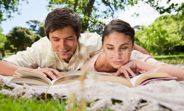 Man and woman looking down at books while lying prone on a grey blanket in the grass Stock photo © wavebreak_media
