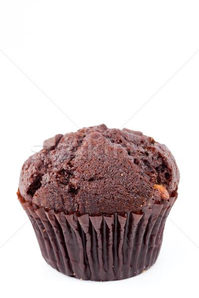 Közelkép friss sült csokoládé muffin fehér Stock fotó © wavebreak_media