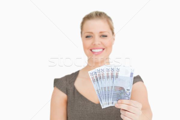 Güzel kadın euro beyaz para Stok fotoğraf © wavebreak_media