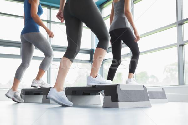 üç kadın aerobik spor salonu kadın spor Stok fotoğraf © wavebreak_media