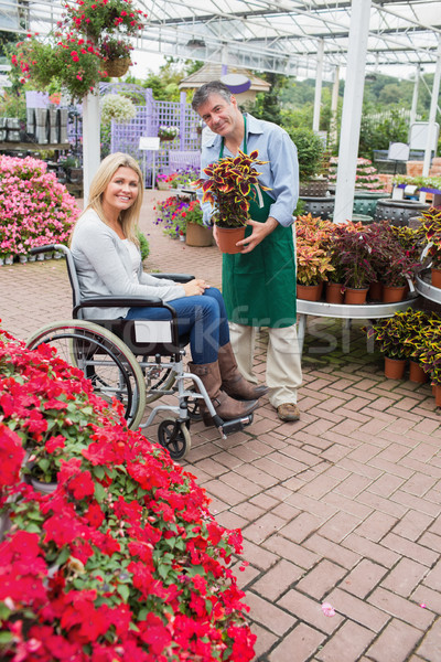 Stock photo: Smiling woman in wheelchair buying a flower in garden centre