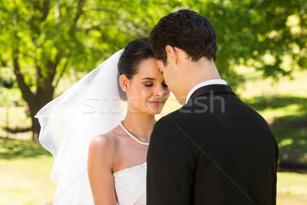 ロマンチックな 新婚 カップル 立って 公園 表示 ストックフォト © wavebreak_media