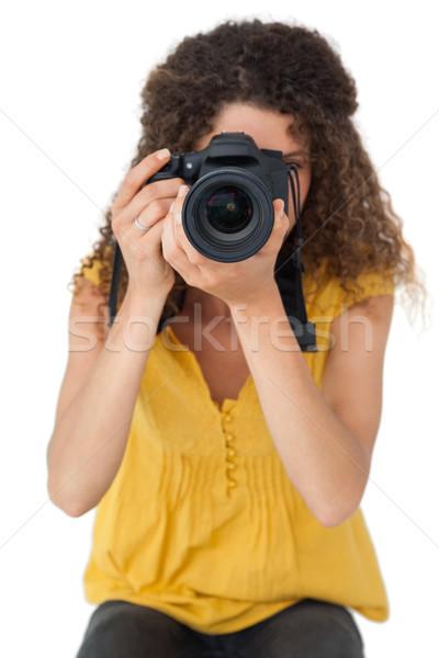 Stockfoto: Portret · vrouwelijke · fotograaf · witte · technologie · fotografie