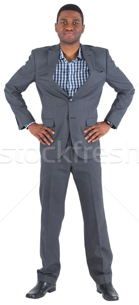 Glimlachend zakenman handen heupen witte mannelijke Stockfoto © wavebreak_media