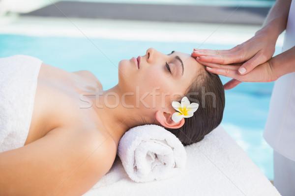 Spokojny brunetka głowie masażu na zewnątrz spa Zdjęcia stock © wavebreak_media