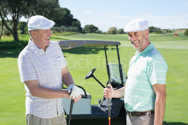 Golfing friends chatting beside their buggy Stock photo © wavebreak_media